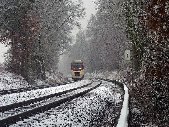 treno in inverno